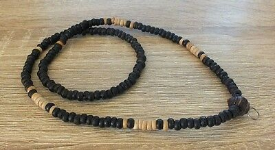 23 inch Black& Brown Wood Beads Antique Style Thai Buddha Amulet Necklace