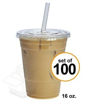 100 Sets 16 oz. Plastic CRYSTAL CLEAR Cups with Flat Lids [by COMFY PACKAGE]