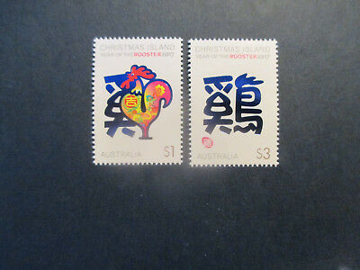 No--1---2017 --Christmas    Island  --Year Of  Rooster   2  Stamps  Mint -Tops