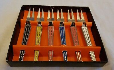 Vintage Retro Unused Boxed Set Of 12 Stainless Steel Harlequin Cocktail Forks