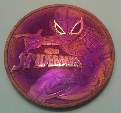 2017 Tuvalu marvel spiderman 1oz silver coin , awesome toning, toned.