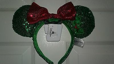 NEW Disney Parks Minnie Mouse Ear Christmas Holiday Sequin Headband with Bow