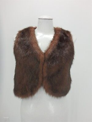 Saks Fifth Avenue Fox Faux Fur VEST Jacket Small   Brown 33948