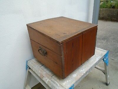 Vintage Solid Pine Chest Slope Slant Top Toy Storage Trunk Craft Hobby Box Wood