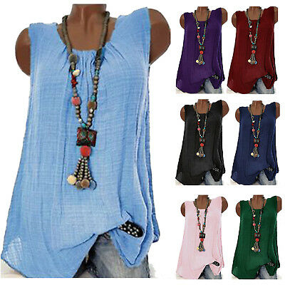 AU Womens Summer Sleeveless Blouse Shirt Ladies Casual Vest Tank Tops Plus Size
