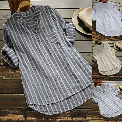 Womens Long Sleeve Striped Shirt Ladies Casual Loose Blouse Tops AU Plus Size