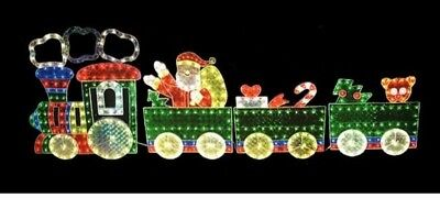 christmas yard decoration holographic 4 piece 85 foot lighted motion train set - Christmas Train Yard Decoration