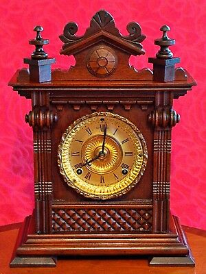 "Antique American ""Ansonia"" 8-Day Oak Case Striking Mantel Clock"