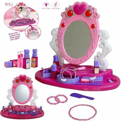 Princess Glamour Mirror Dressing Vanity Table Beauty Play Set Girl Music & Light