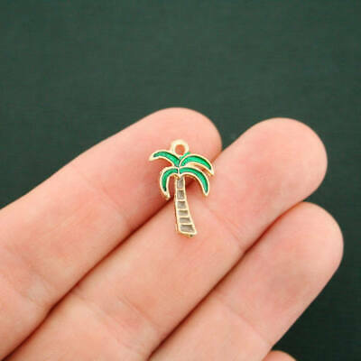 5 Palm Tree Charms Gold Plated Enamel Fun and Colorful - E431