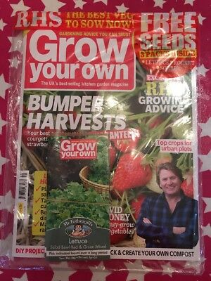 Brand NEW BAGGED ISSUE OF Grow your own Magazine - AUGUST 2018 WITG FREE SEEDS