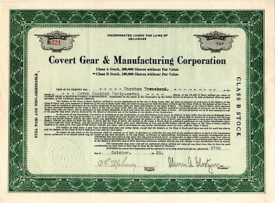 Covert Gear & Manufacturing Corporation 1930 Stock Certificate