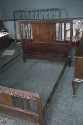 Antique Double Bed.  Hardwood metal frame.