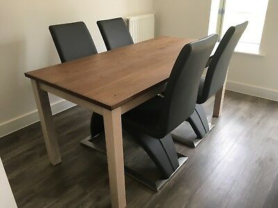 Stupendous Ikea Kejsarkrona Oak Dining Table And 4 Grey Faux Leather Gamerscity Chair Design For Home Gamerscityorg