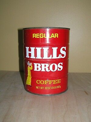 Vintage Hills Bros Coffee Tin Can 2 Pound Size (32 Ounces) Regular Grind