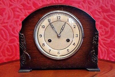 "Vintage Art Deco ""Bentima"" 8-Day Striking Mantel Clock with ""Perivale"" Movement"
