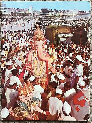 Old Postcard of Ganapati Festival Bombay India 1977
