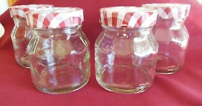 4 SMUCKER'S JAM JELLY GLASS JARS empty clean with lids Crafts Gifts Organizing