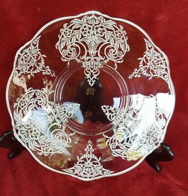 Vintage STERLING SILVER OVERLAY 12 Inch Glass Plate