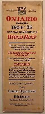 Vintage 1934-35 Ontario Canada Official Government Road Map