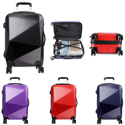 """PC Hard Shell Cabin Suitcase Case 4 Wheels Luggage Trolley Case Lightweight 20"""""""