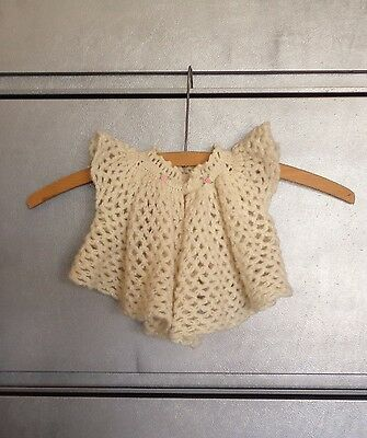 Beautiful Vintage Crochet Sweater for Baby Doll Off White with Pink Flowers