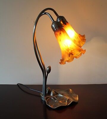 Art Nouveau Lily Table Lamp With Two Amber Glass Lily Shades