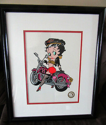 "Betty Boop Limited Edition Sericel Motorcycle Biker Matted & Framed 22"" x 19"""
