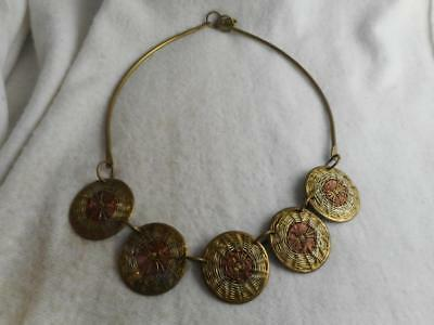 Vtg brass tube necklace w/ brass copper & silver woven wire round circle charms
