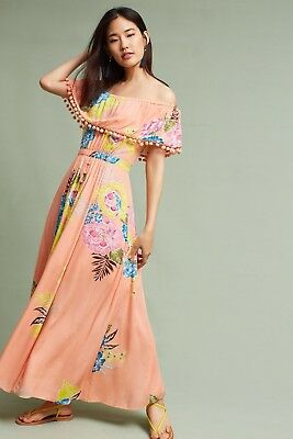 4e10d4cd8fe NWT Anthropologie Farm Rio Pom Pom Off-Shoulder Maxi Dress Floral Size PS