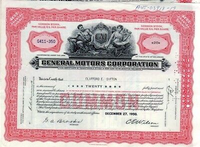 General Motors Corporation 1950's Stock Certificate - red - writing - notations