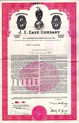J.I. Case Company -Agriculture and Construction -1976-1979 Stock Certificate-red