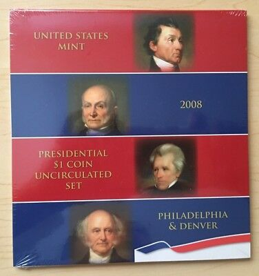 2008 US Mint Uncirculated 1 Dollar Presidential Coin Set sealed in plastic wrap
