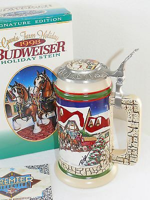Budweiser Grants Farm Holiday Lidded Stein Christmas Clydesdales Signature New