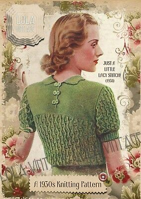 Vintage 1930s Knitting Pattern Lady's LacyShort Long Sleeved Jumper Retro 1940s