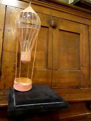 Hot Air Balloon Large Light Bulb With Pink Crochet Top And Bottom With Basket
