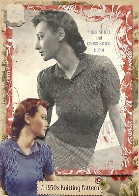Vintage 1930s WWIILady's Retro Knitting Pattern Moss Cross Cable Jumper 1940s