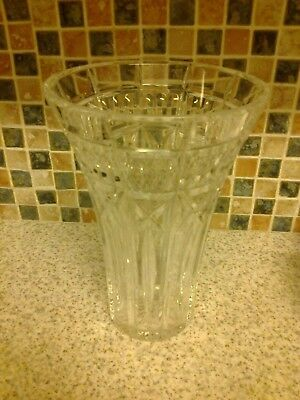 Large Cut Glass Crystal Vase Beautiful Design 8 Inches Tall
