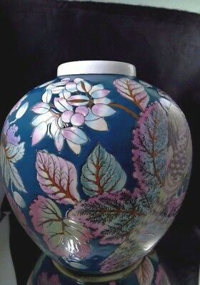 Vintage Large Ceramic Vase Urn With Bird Flowers Cones Teal Blue Green Purple