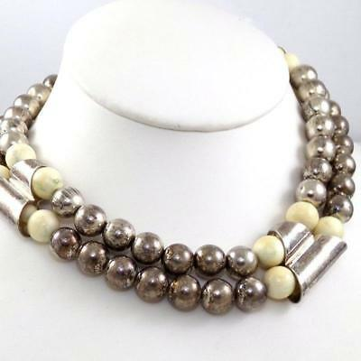 VTG Sterling Silver Taxco Mexico Bead Ball White Onyx HEAVY Necklace 208 Grams