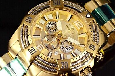 27268 Invicta VORTEX Bolt Tri Cable 52MM Chronograph ALL GOLD SS Band Watch NEW