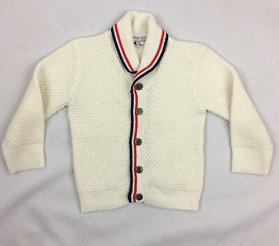 Vintage Infant cardigan Sweater Red White Blue Prep Nerd Hipster Baby 3-6 Months