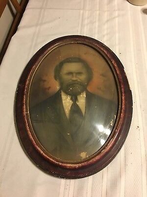 Antique Oval Faux Tiger Large Wood Picture Frame With Convex Bubble