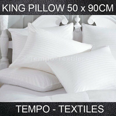 100% Pure Cotton Sateen Cover Polyester King Size Pillow 50 x 90cm Washable
