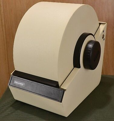 Vintage Rolodex Model 2254 Tan Filing Metal Roll Top Rotary & Blank Cards USA