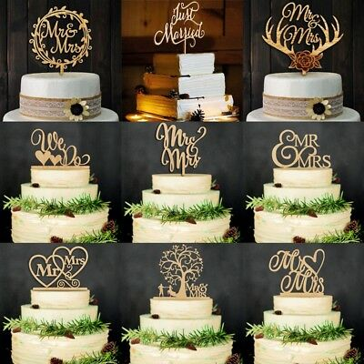 Hot Wooden Bride Groom Wedding Love Birthday Cake Topper Party Favors Decor