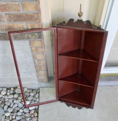 "ANTIQUE HANGING WOOD CORNER CABINET   32 1/2"" x 14"" x 7 1/2"""