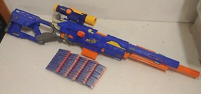 Nerf Long Strike CS-6 Sniper Rifle With Front Barrel Scope Ammo Clip Darts WORKS