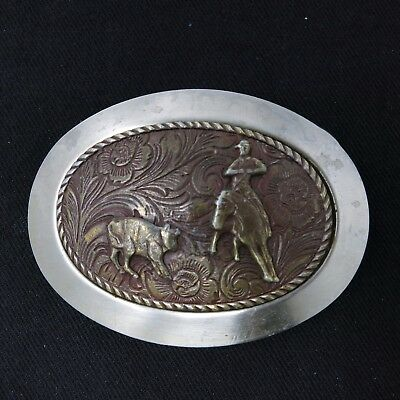Vintage Silver Tone Etched Cowboy Western Rodeo Roping Cattle Belt Buckle