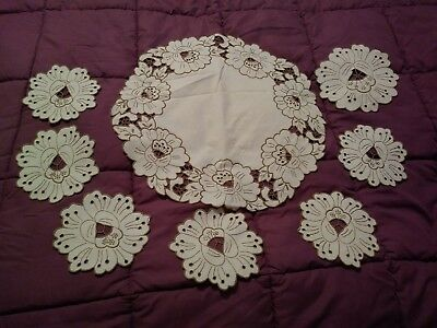 Unused (possibly) 12 Piece Set of Madeira Embroidered and Cutwork Dollies